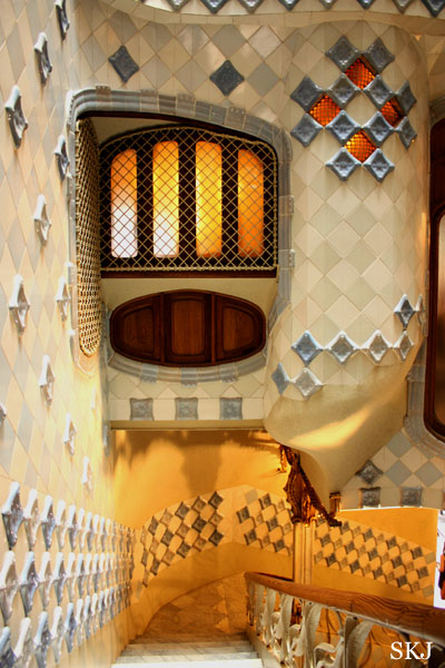Stairway with colorful tiles inside the Batllo, Barcelona. photo by Shara Johnson