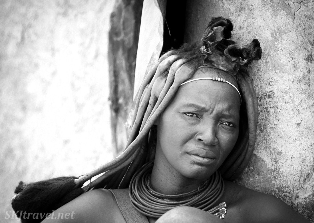 Chief Kapika's youngest wife, Himba village near Epupa Falls, Namibia.