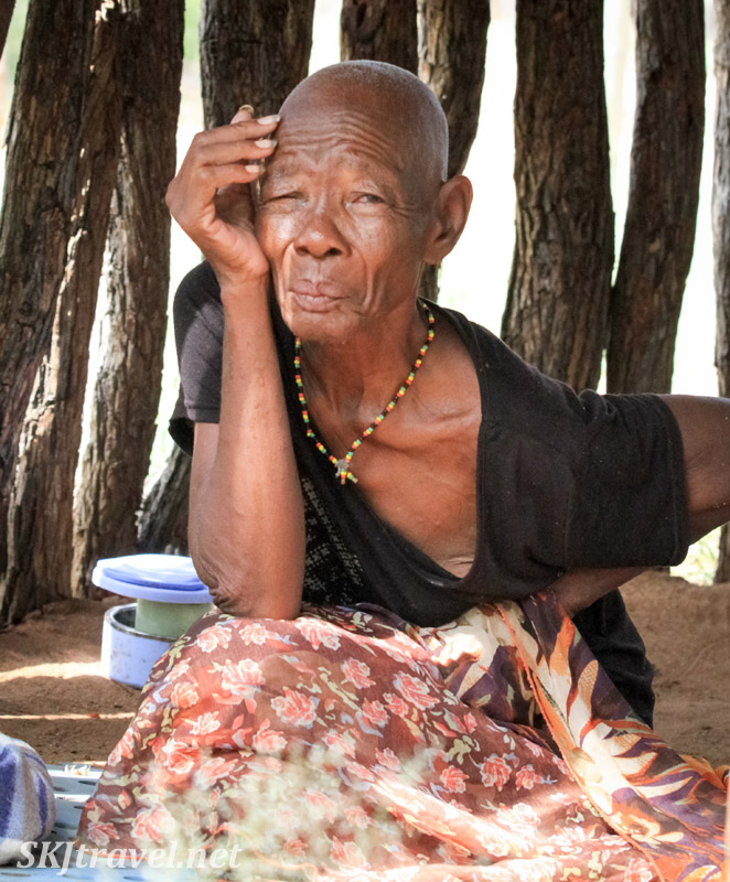 Ndjinaa in her own hut no longer considered bewitched. Kunene region, Namibia.