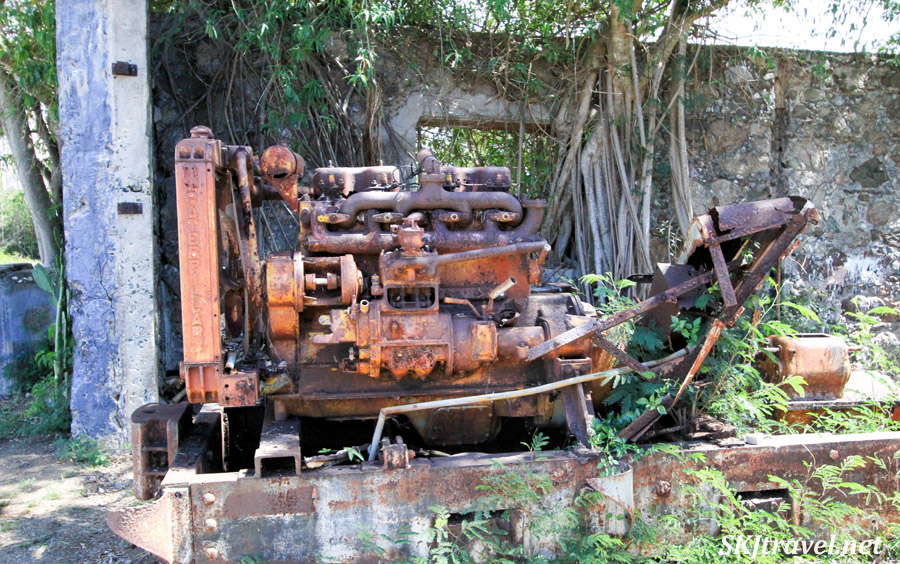 Old machinery outside the Central Grande Playa sugar mill, Esperanza, Vieques, Puerto Rico.