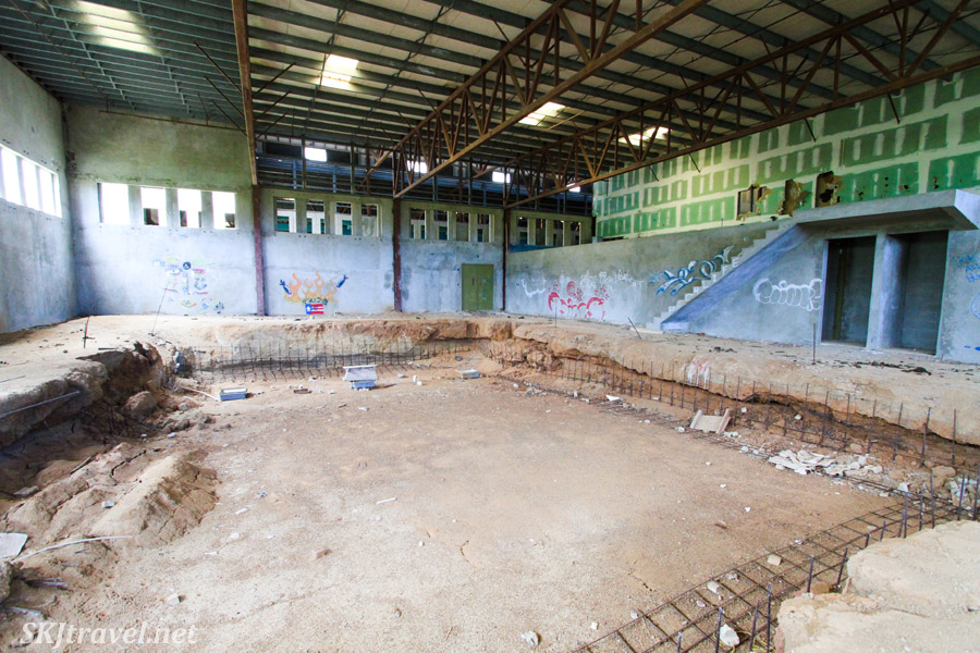 Huge room built for a swimming pool in abandoned building. Vieques Island, Puerto Rico.