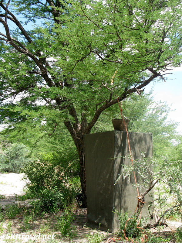 Shower at our camp in the Central Kalahari Game Reserve with Ulinda Safaris.