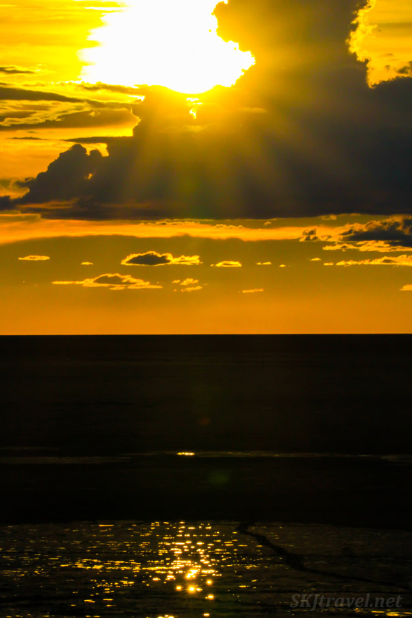 Sunset at Onkoshi camp, Etosha National Park, Namibia.