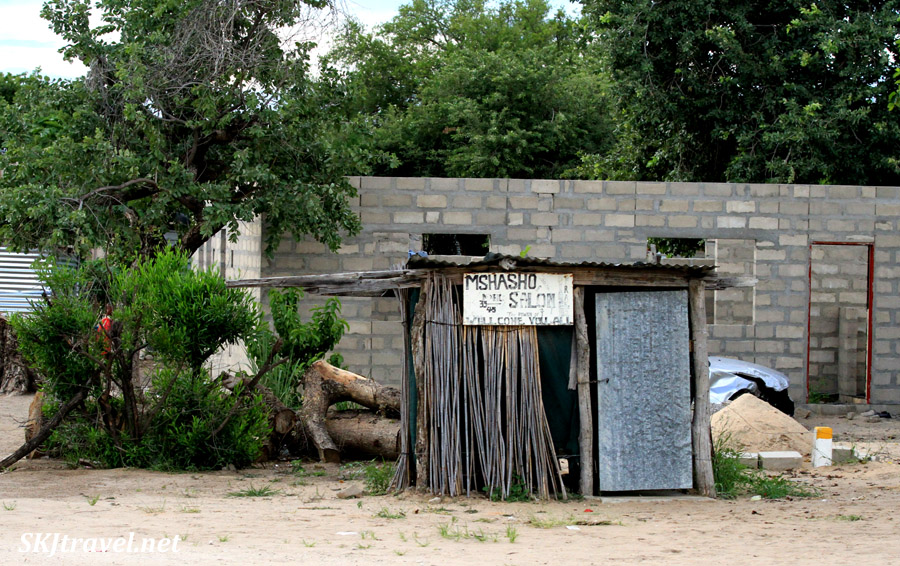 Hair salon along the roadside, northern Namibia.