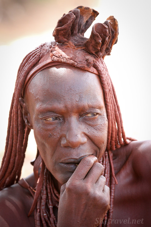 Chief Kapika's eldest wife, Himba tribe near Epupa Falls, Namibia.