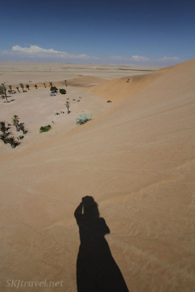 Looking down from a little ways up the face of Dune 7, near Walvis Bay, Namibia.
