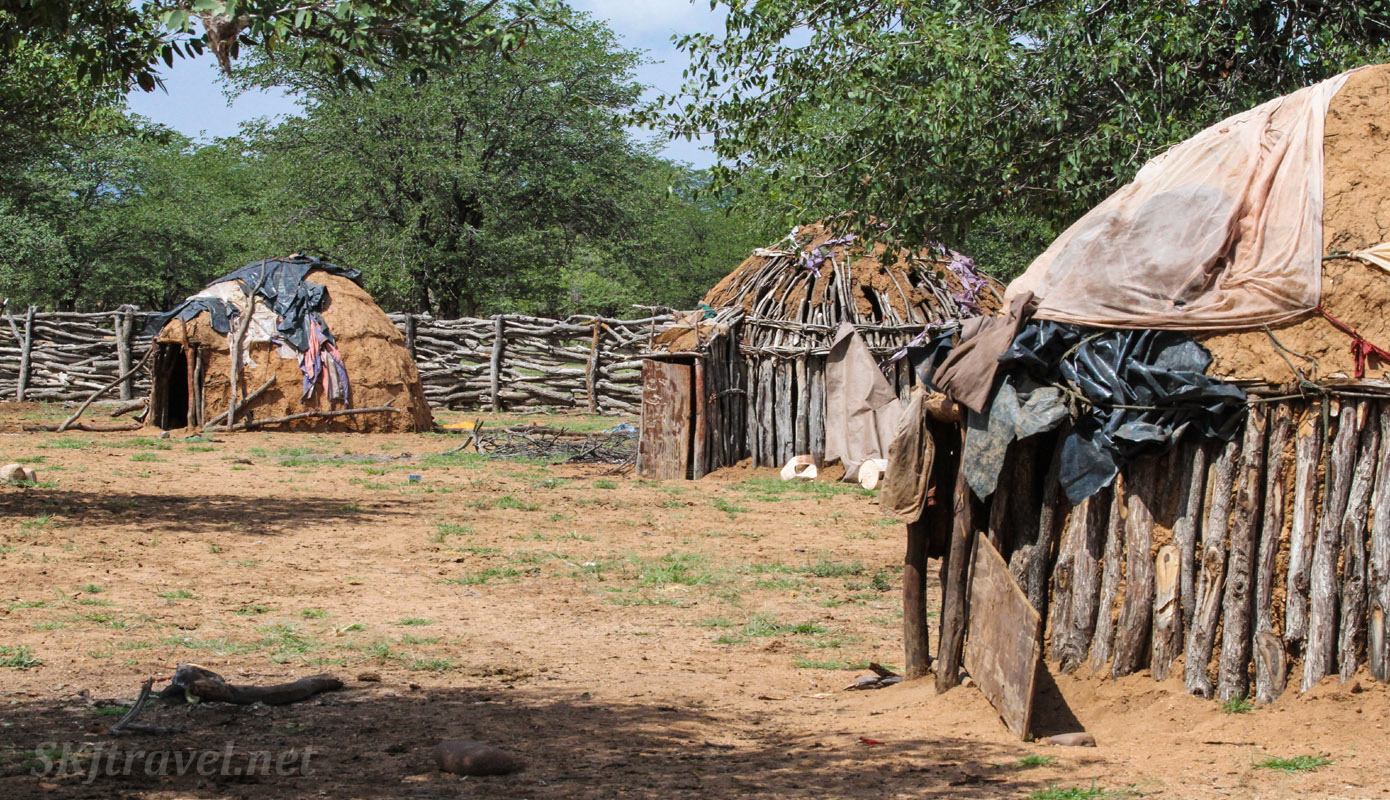 Huts of Himba people inside their kraal. Kunene region, Namibia.