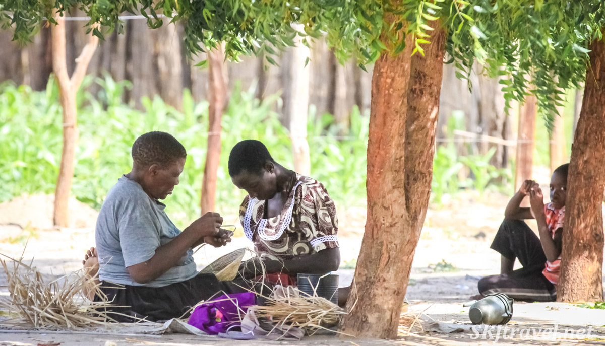 Kavango women weaving baskets. Namibia.