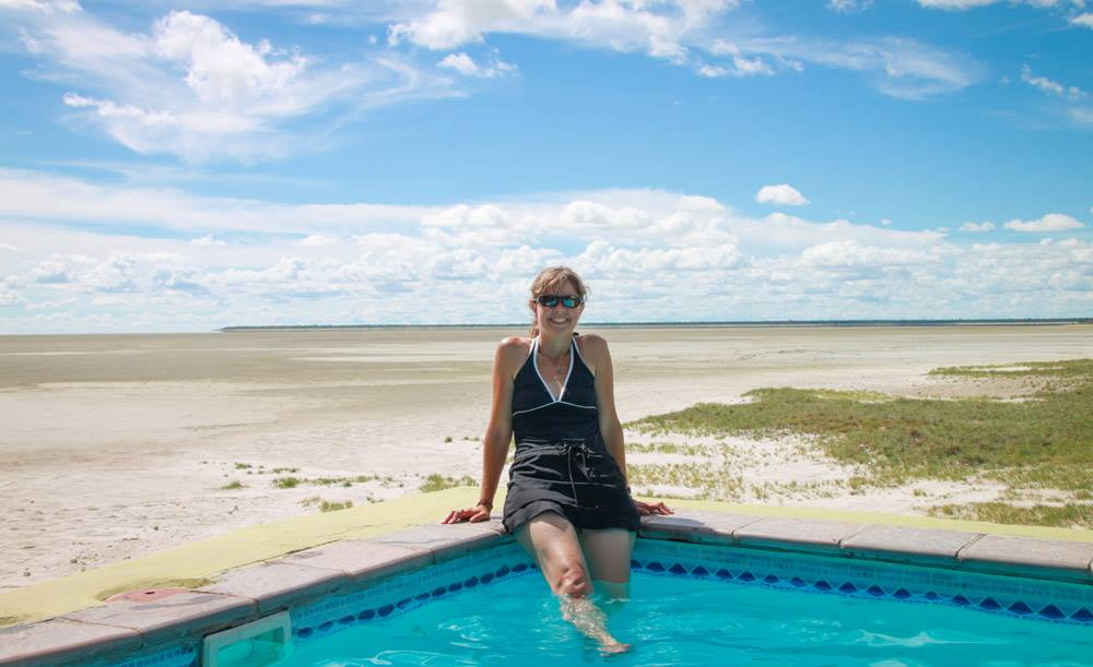 Swimming pool at Onkoshi camp at the edge of the Etosha salt pan, Etosha National Park, Namibia.