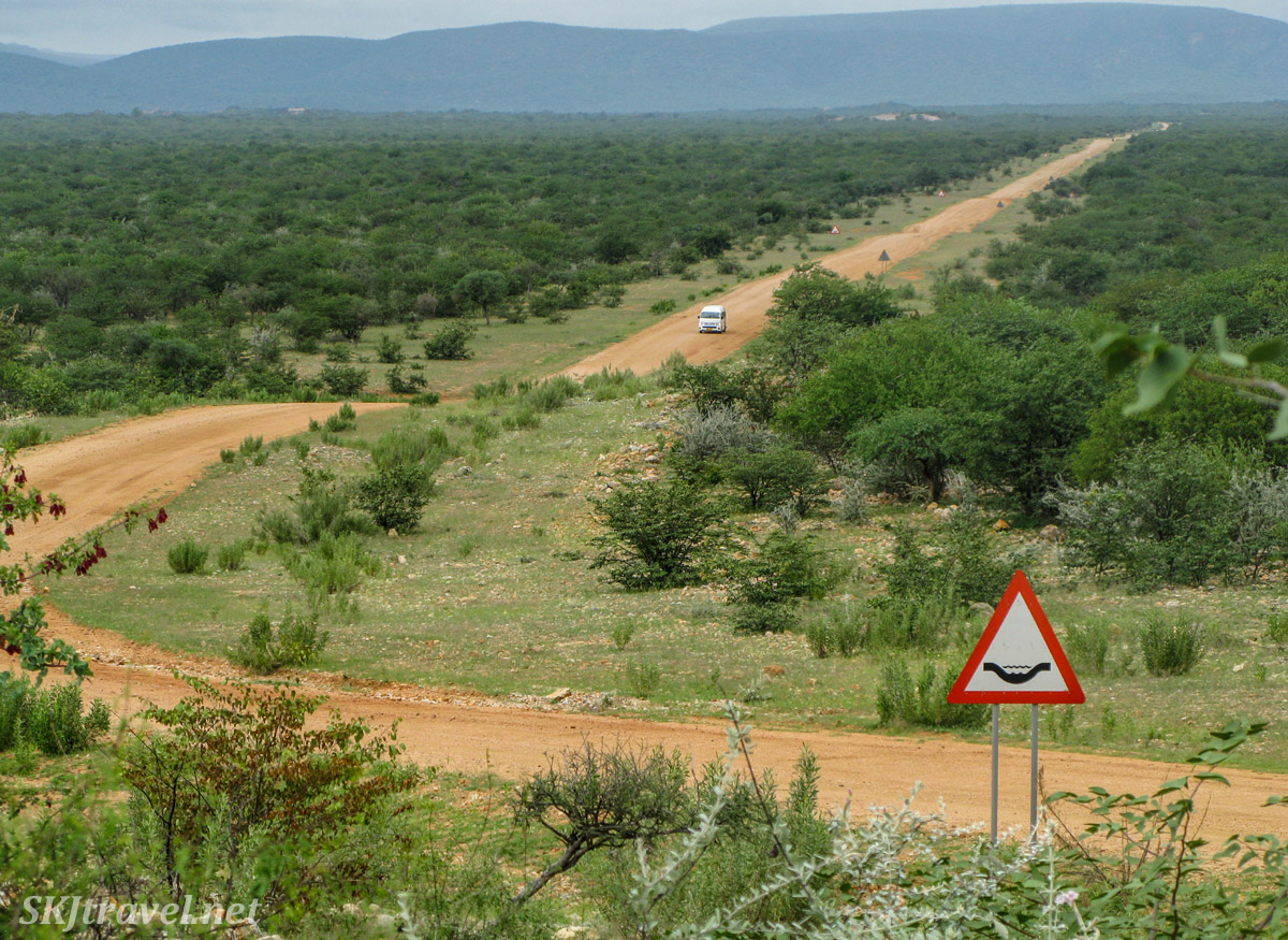 Road leading to Epupa Falls, northern Namibia.