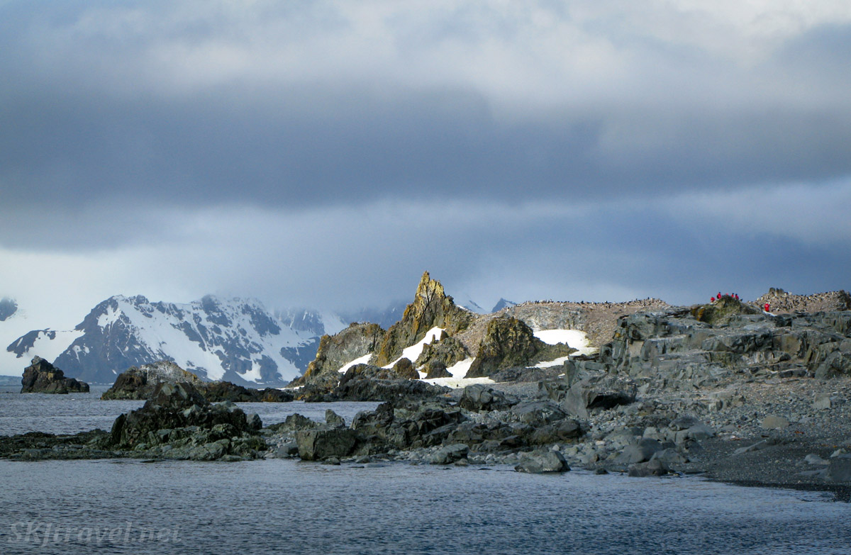 Rock formations at Half Moon Island in the South Shetland Islands.