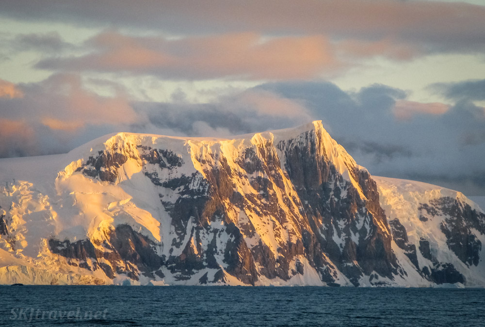Mountains in the sunset light on board the Sea Spirit. Antarctica.