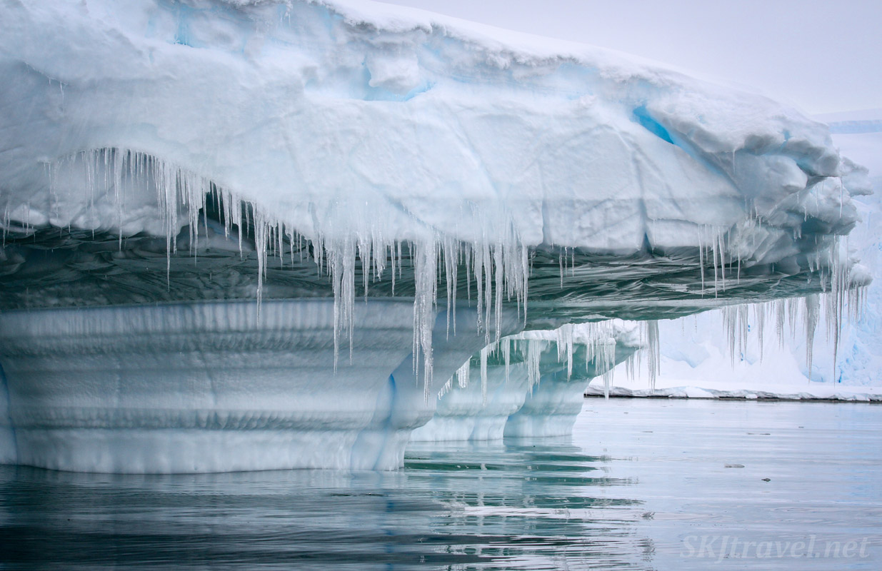 Iceberg with icicles, Wilhelmina Bay, Antarctica.