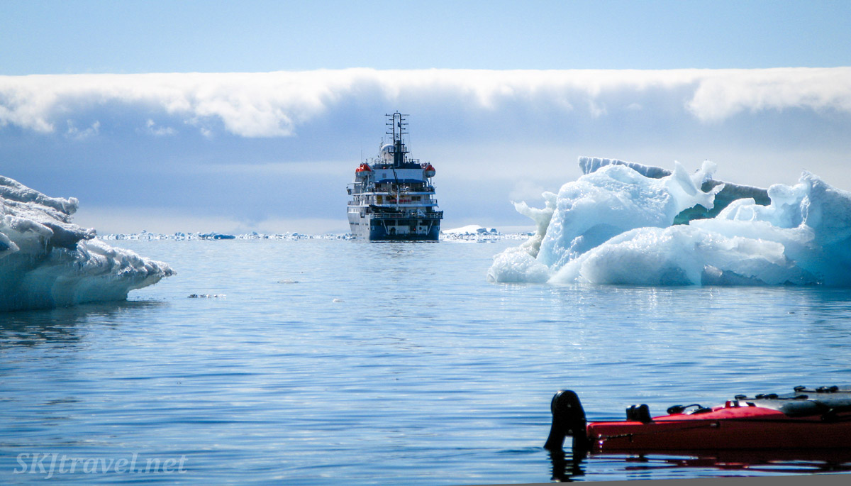 Our ship anchored while kayaking at Brown Bluff in the Antarctic Sound.