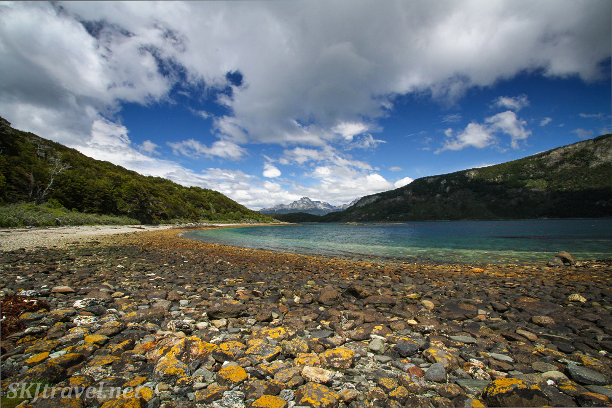 Fields of rocks on the shoreline at Tierra del Fuego, Argentina.