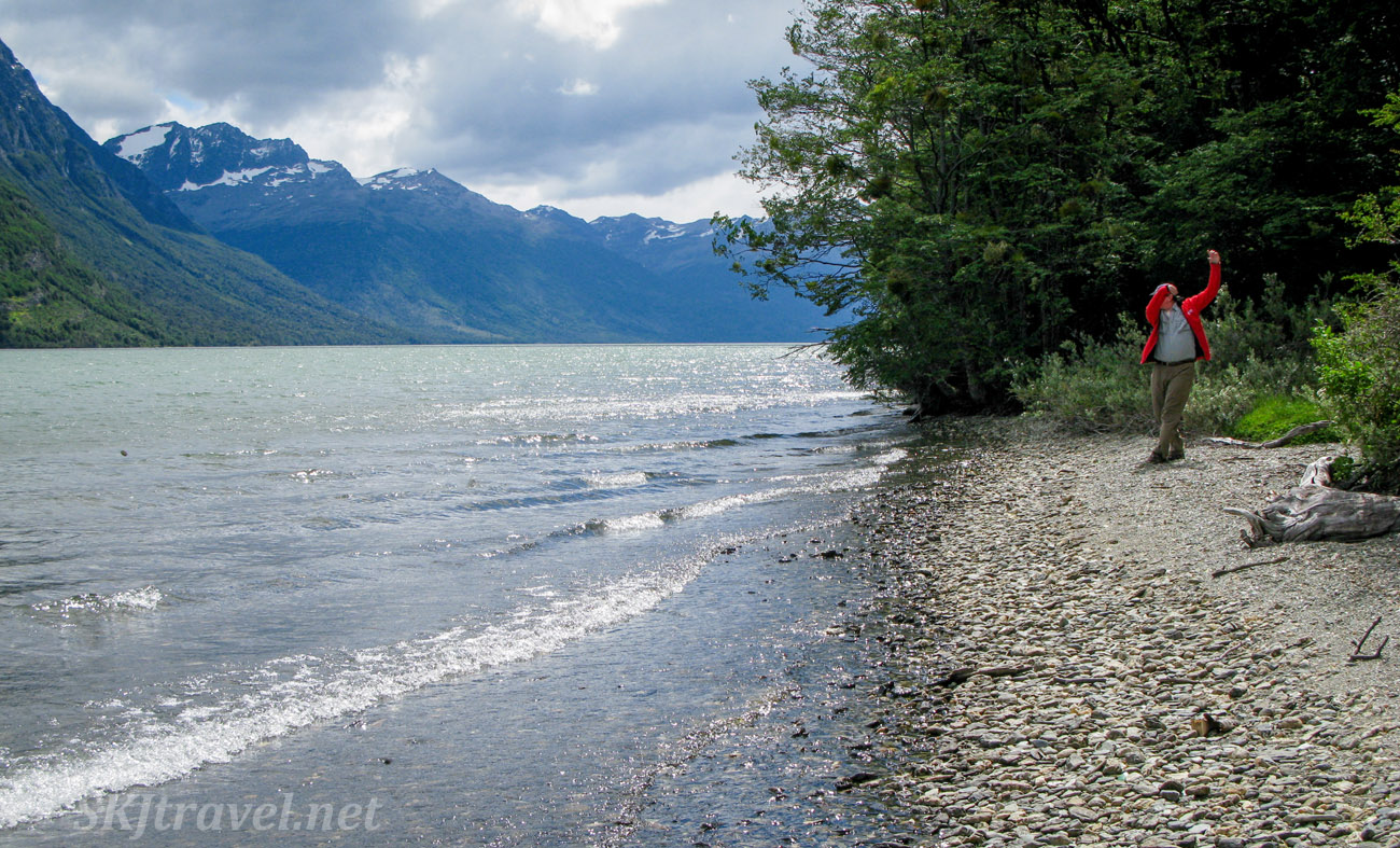 Erik skipping stones at Tierra del Fuego national park, Argentina.