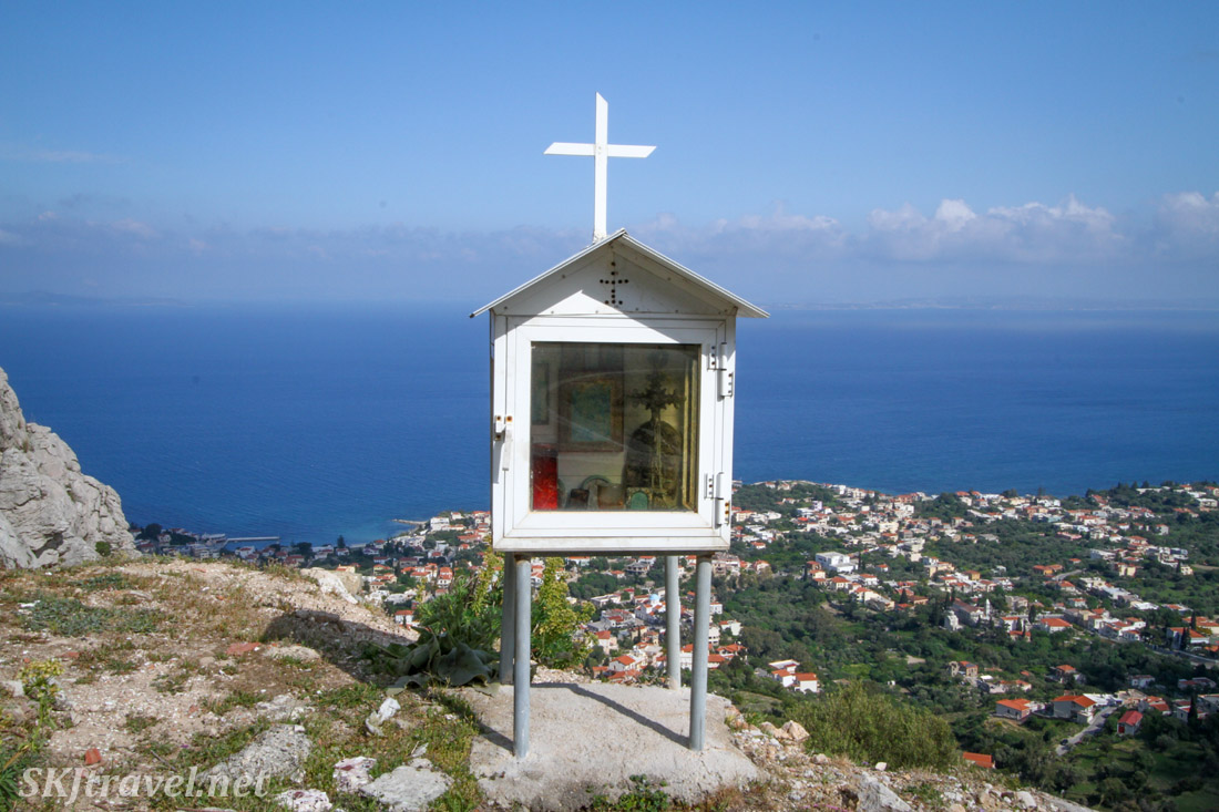 Memorial shrine along the roadside overlooking the village of Vrontados, Chios Island, Greece.