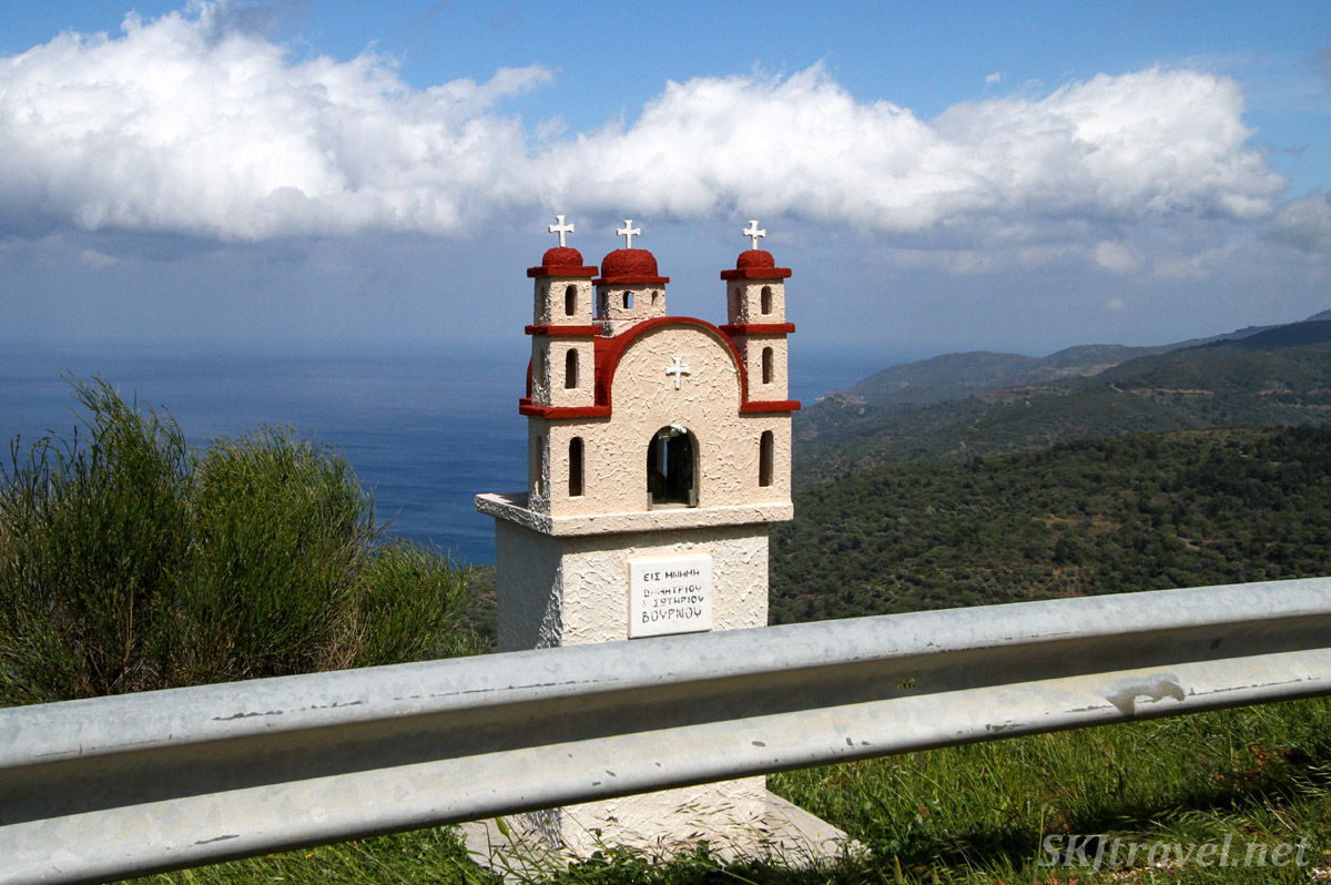 Roadside memorial shrine with a view of the sea, in the mountains of Chios Island, Greece.