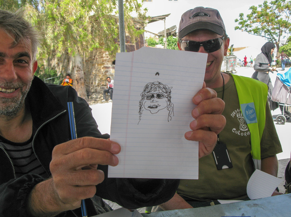 Erik artistic rendering of his lovely wife. Souda refugee camp, Chios Island, Greece.