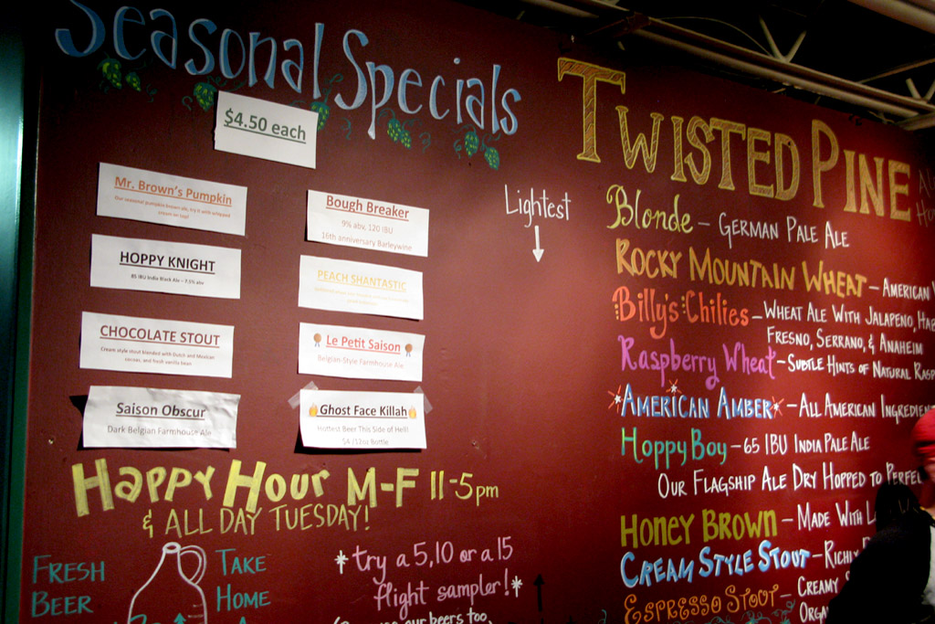 Selection of beers at Twisted Pine Brewery, Boulder, Colorado.