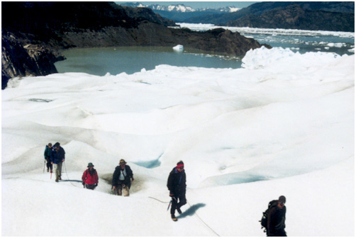 Hiking along Grey Glacier in Torres Del Paine National Park, Chile.