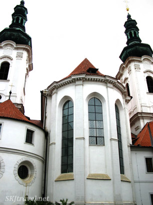 Tall  white buildings of Strahov monastery in Prague