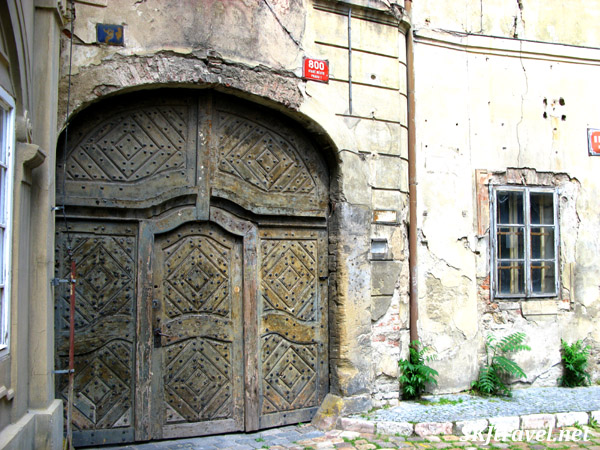 Old door in dilapidated section of Prague near the Jewish Quarter.