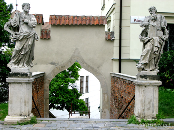 Stairway guarded by statues, Brno, Czech Republic.