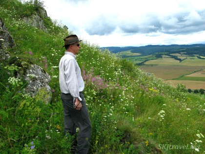 Erik surveys the surf land below Spis Castle, Slovakia.