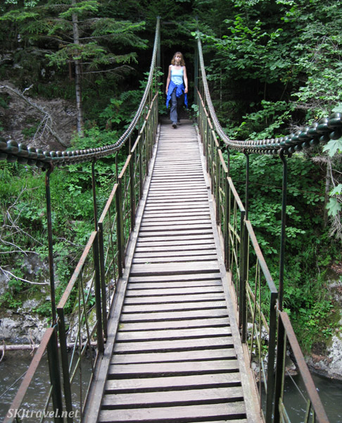 Suspension bridge across the river in Slovensky Raj national Park, Slovakia.