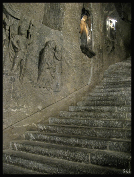 Stairway leading into large cathedral inside the belly of the Wieliczka salt mine. Poland.