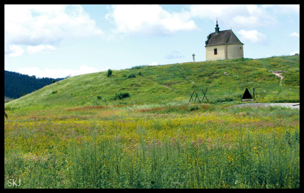 Small lonely church along the roadside in Slovakia.
