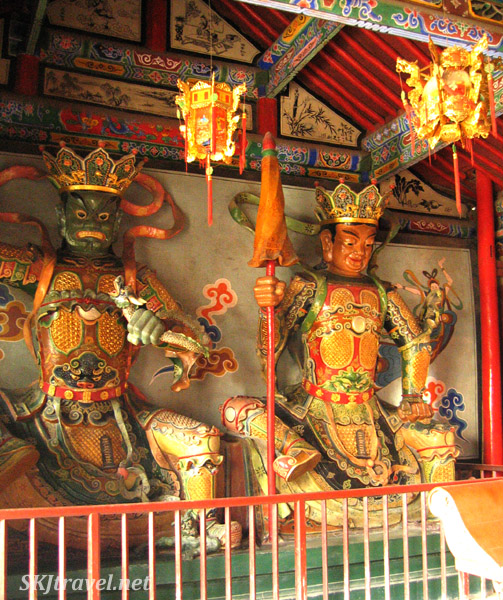 Typical scary-looking Buddhist figures inside Gao Miao temple. Zhongwei, China.