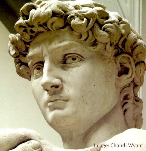 Close-up of Michelangelo's statue of David, Florence, Italy.