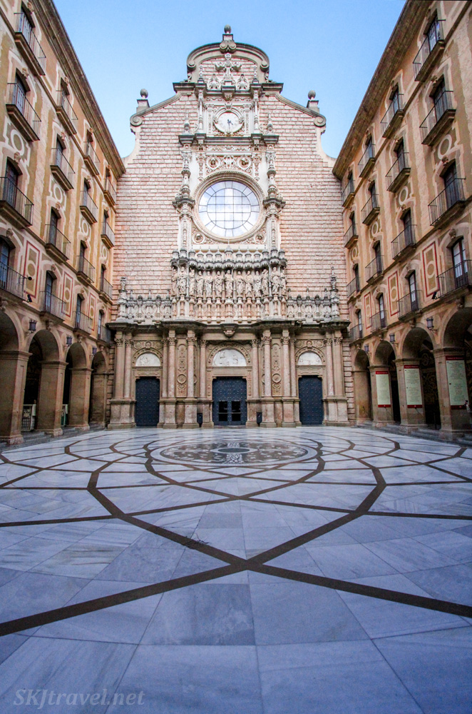The courtyard of the abbey of Montserrat, Spain.