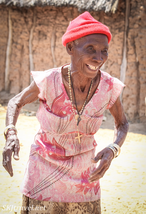 Elderly woman, Granny Sabina, in Divundu, Namibia. Kavango woman accused of witchcraft.