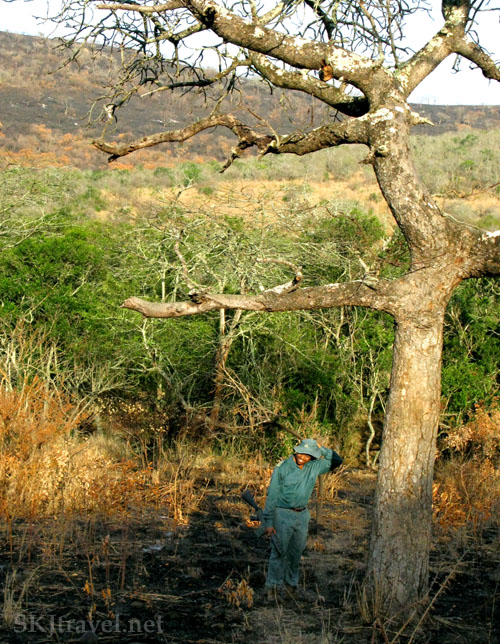 My ranger guide posing for a photograph in Hluhluwe-iMfolozi National Park, South Africa. Photo by Shara Johnson