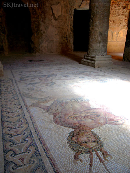 Floor tile mosaic in ancient Roman city of Bulla Regia, Tunisia.