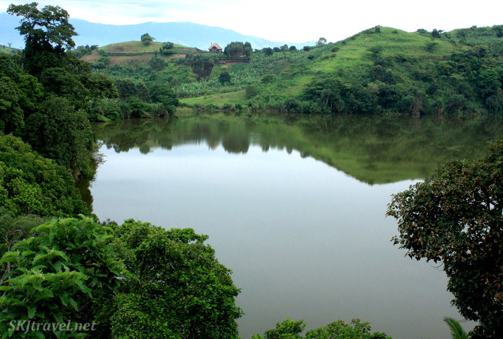 A home on the shore of a lake in the crater lakes region of Fort Portal, Uganda.
