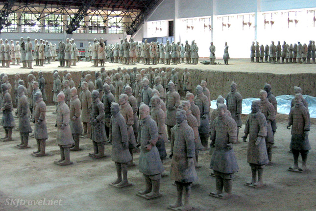 Assembly area for putting back together the pieces of the Qin terra cotta warrior army outside Xian, China.