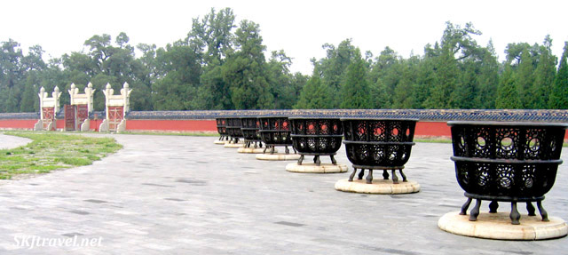 Large iron cauldrons to hold offerings to the gods at the Temple of Heaven, Beijing