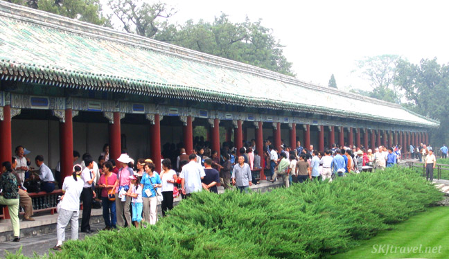 Musicians and singers are packed inside a long corridor in the Temple of Heaven, Beijing.