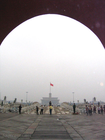 Looking out from a tunnel exiting the Forbidden City across Tiananmen Square. Beijing.