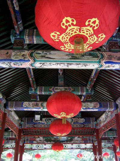 Detail of ceiling inside the shelter beside the pond in Prince Gong's Mansion, Beijing.