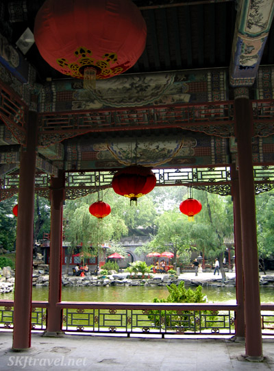 Inside a shelter beside the pond in the middle of Prince Gong's Mansion grounds, Beijing.
