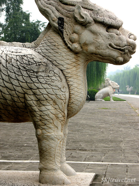 Stone statue of the mythical beast known as a qilin along the Sacred Way, or Spirit Way, at the Ming Tombs outside Beijing, China.