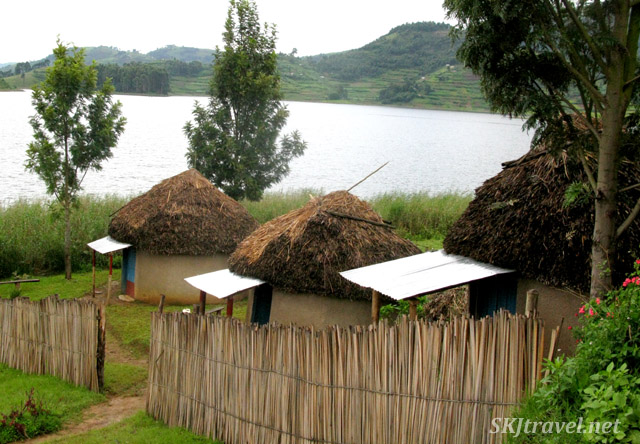 Mud huts where the school mistress, my host and I slept. Lake Bunyoni, Uganda.