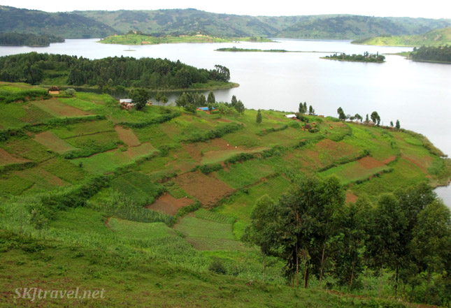 Terraced agricultural fields around Lake Bunyoni, Uganda.