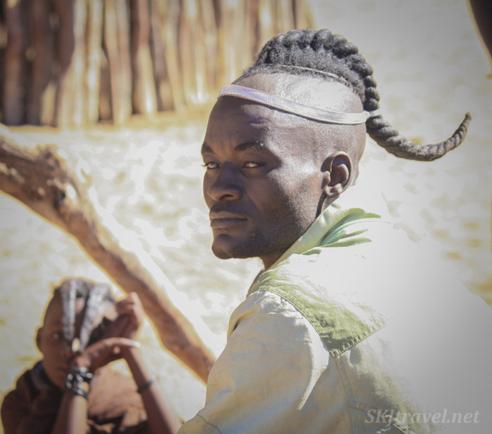Traditional hairstyle of the Himba men.