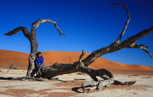 Shara sitting on a dead tree in the dead vlei, Sossusvlei NP, Namibia.